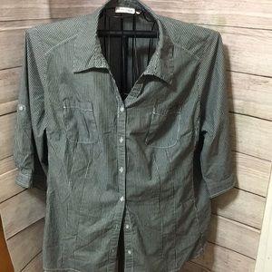 St Johns Bay Charcoal Grey Striped Shirt size 3X